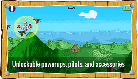unlockable power-ups, pilots and acessories