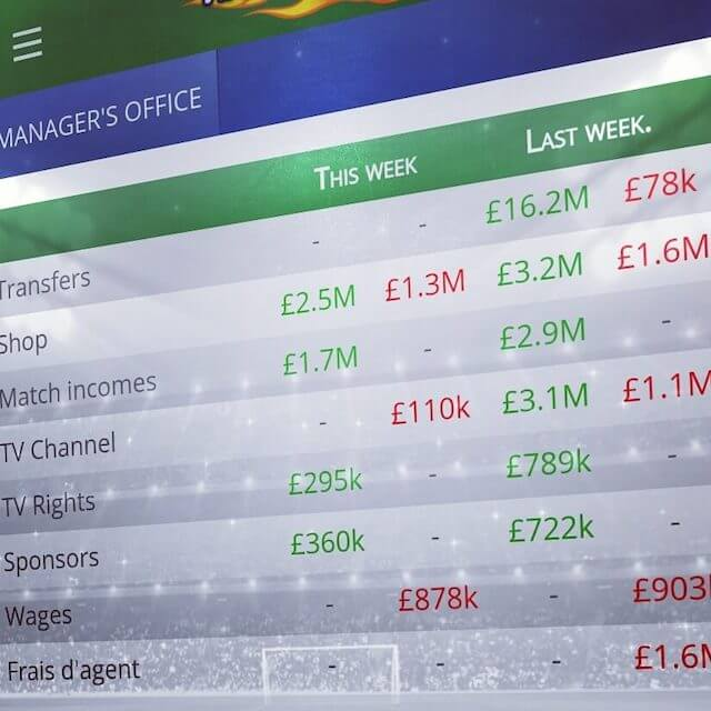 Virtuafoot Manager Managing Finances